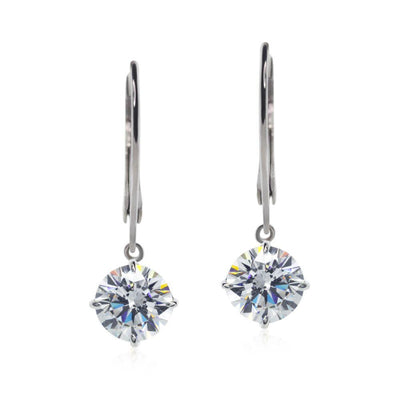 Carat London 9ct White Gold Drop Earrings