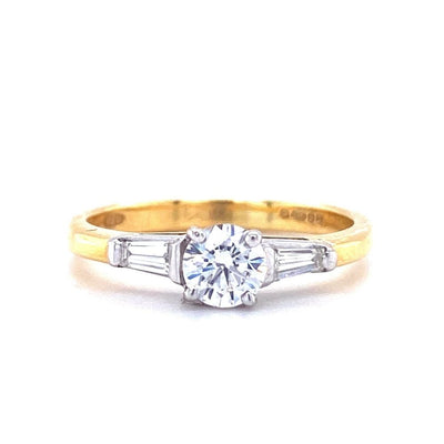 18ct Yellow Gold Round and Baguette Solitaire Engagement Ring