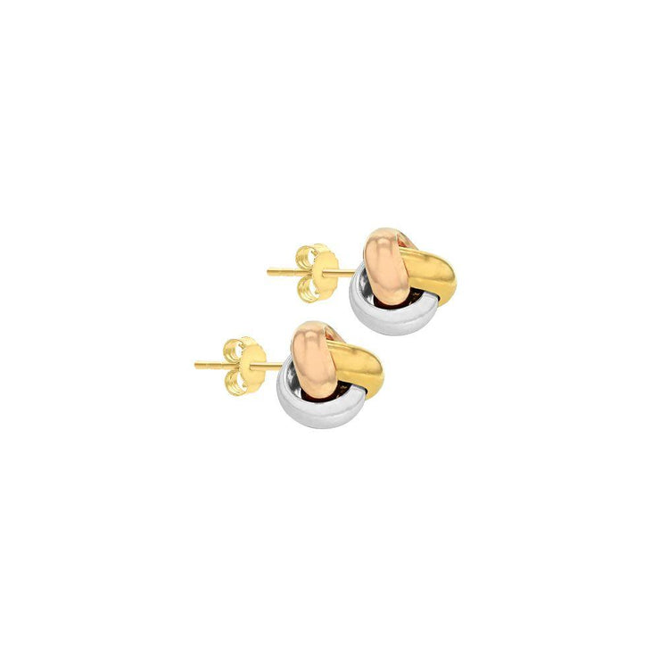 9ct Gold Three Colour Knot Earrings