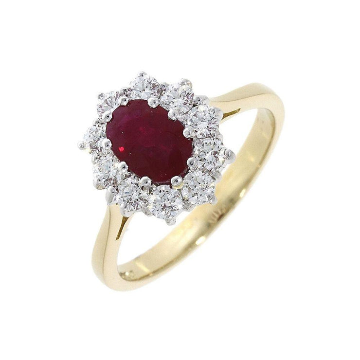 18ct Ruby and Diamond Cluster Engagement Ring