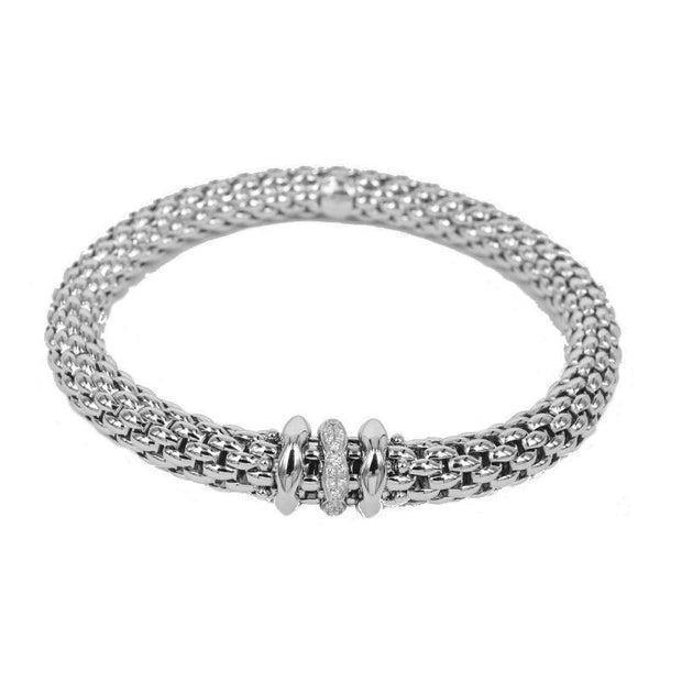 FOPE Flex'it Love Nest 18ct White Gold Diamond Bracelet 451B BBRM