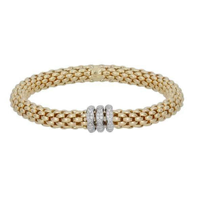 FOPE Flex'it Love Nest 18ct Yellow Gold Diamond Bracelet 451B PAVEM
