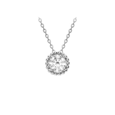 9ct White Gold CZ Small Halo Necklace