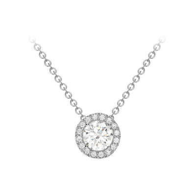 9ct White Gold CZ Halo Necklace