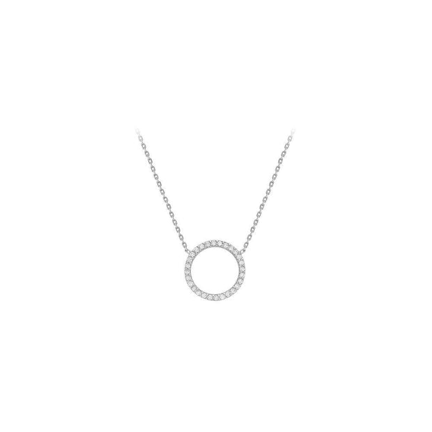 9ct White Gold CZ Open Circle Necklace