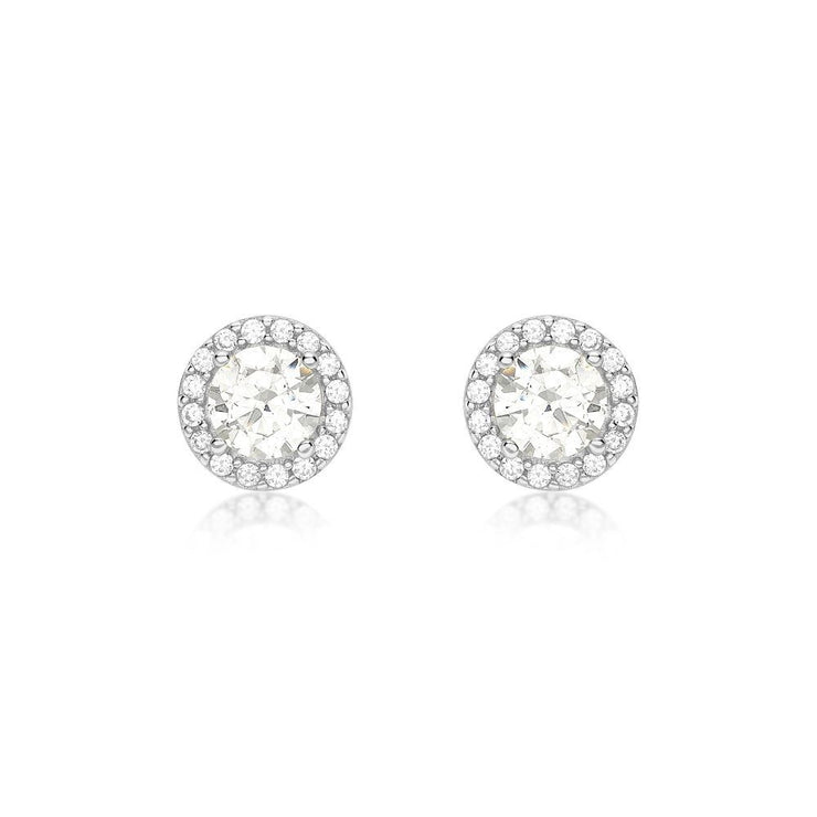 9ct White Gold Halo CZ Stud Earrings