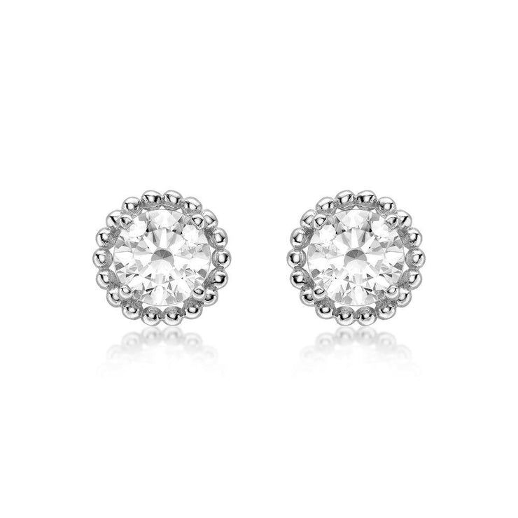 9ct White Gold CZ Halo Stud Earrings
