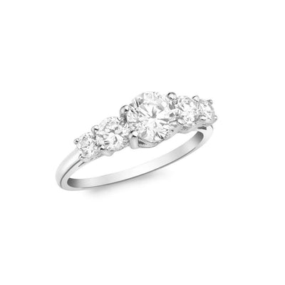 9ct White Gold CZ Graduated 5 Stone Ring