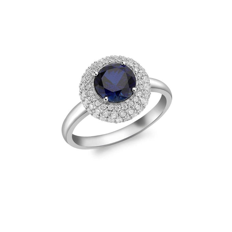 9ct White Gold CZ Blue Cluster Ring