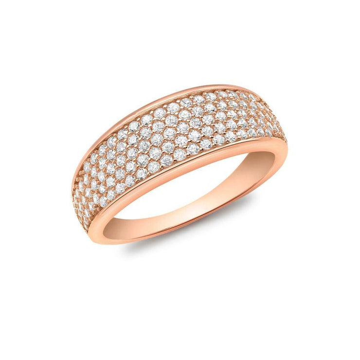 9ct Rose Gold CZ Pave Wide Tapered Ring