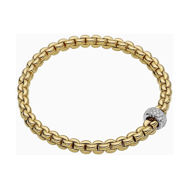 FOPE Flex'it Eka 18ct Yellow Gold Diamond Bracelet 701B PAVE