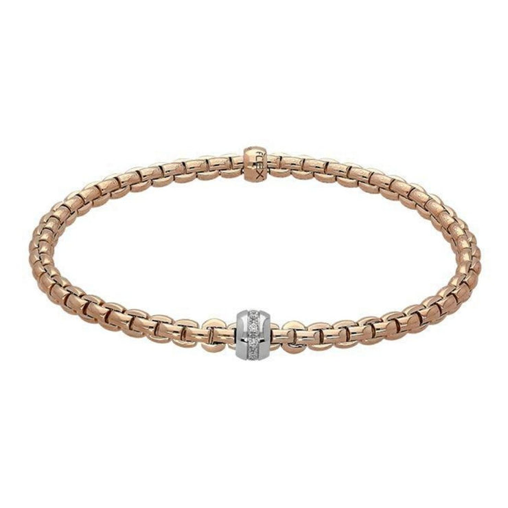 FOPE Flex'it Eka Tiny 18ct Rose Gold Bracelet 733B BBRM