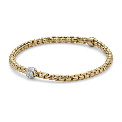 FOPE Flex'it Eka Tiny 18ct Yellow Gold Diamond Bracelet 733B PAVEM