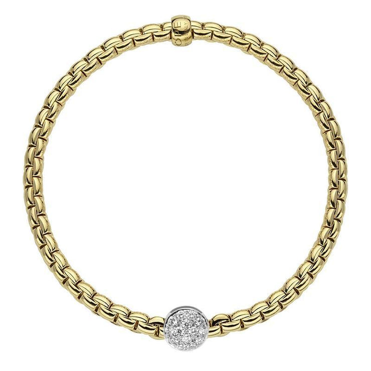 FOPE Flex'it Eka Tiny 18ct Yellow Gold Pave Diamond Bracelet 736B PAVEM