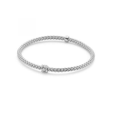 FOPE Flex'it Prima 18ct White Gold Diamond Bracelet 744B PAVEM