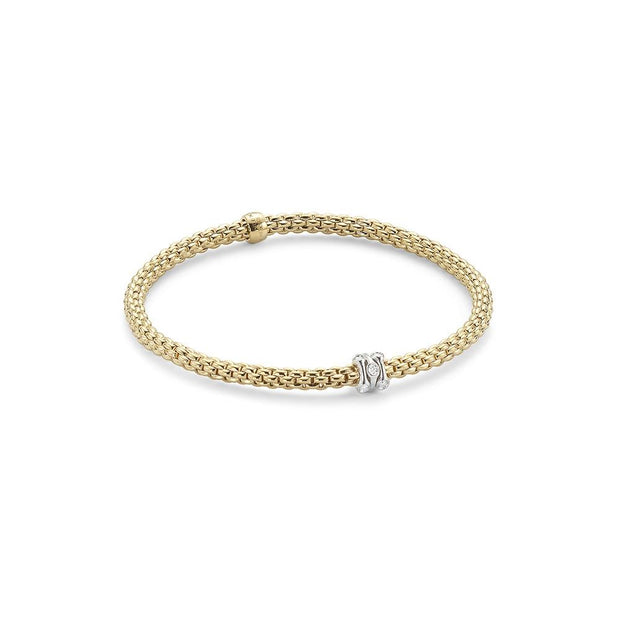 FOPE Flex'it Prima 18ct Yellow Gold Diamond Bracelet 744B PAVEM