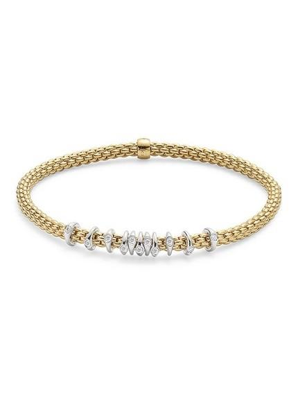 FOPE Flex'it Prima 18ct Yellow Gold Diamond Bracelet 747B BBRM