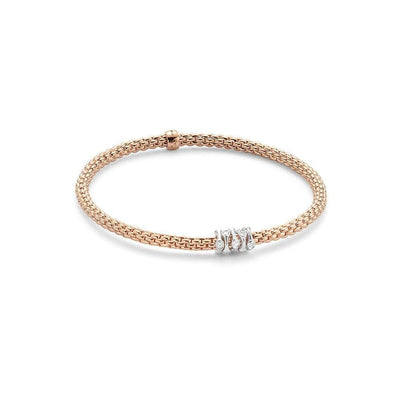 FOPE Flex'it Prima 18ct Rose Gold Diamond Bracelet 748B BBRM
