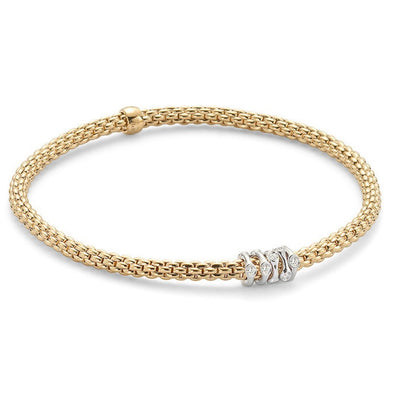 FOPE Flex'it Prima 18ct Yellow Gold Diamond Bracelet 748B BBRM