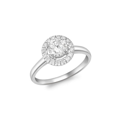 9ct White Gold CZ Halo Ring