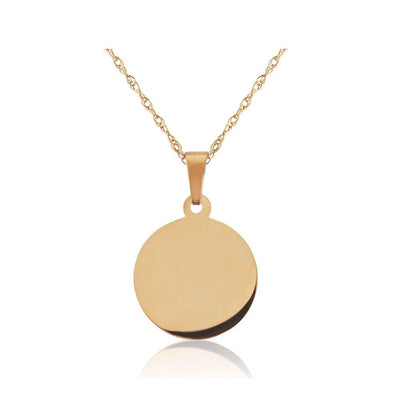 9ct Rose Gold Round Disc Necklace