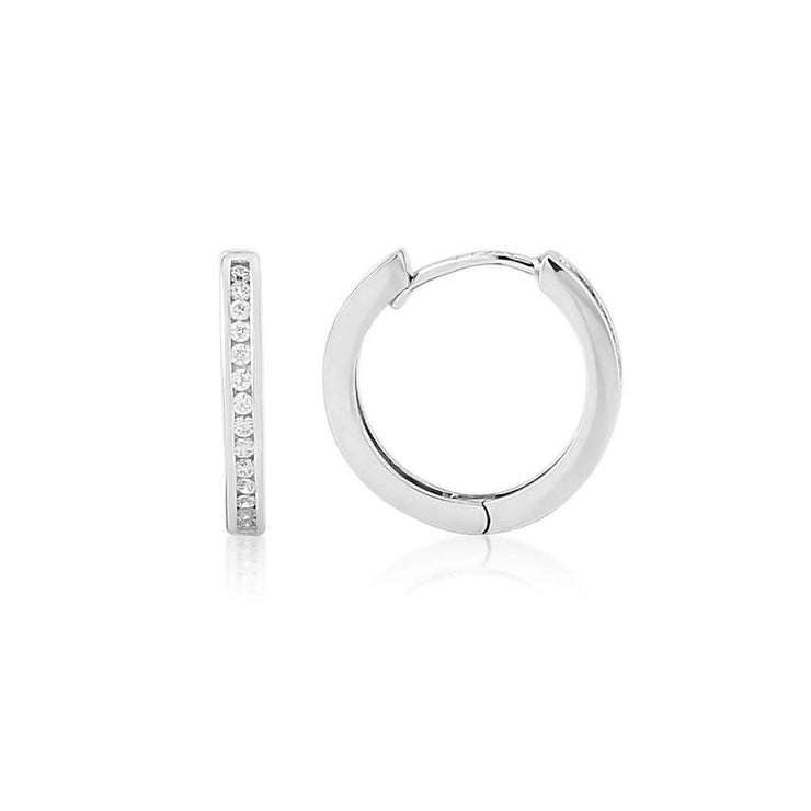 9ct White Gold CZ Channel Set Hoop Earrings