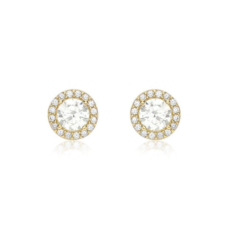 9ct Gold Halo CZ Stud Earrings