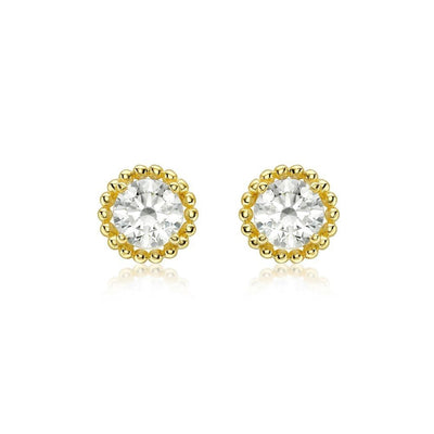 9ct Gold CZ Halo Stud Earrings