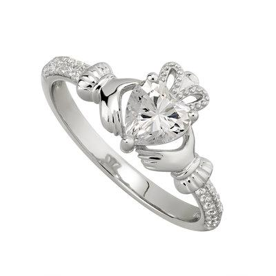 Silver April Claddagh Ring - White CZ