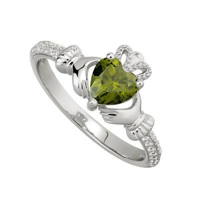 Silver August Claddagh Ring - Peridot CZ