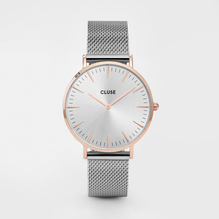 Cluse Steel and Rose Gold Mesh 38mm Watch CW0101201006