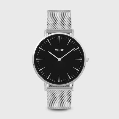 Cluse Black and Steel Mesh 38mm Watch CW0101201004