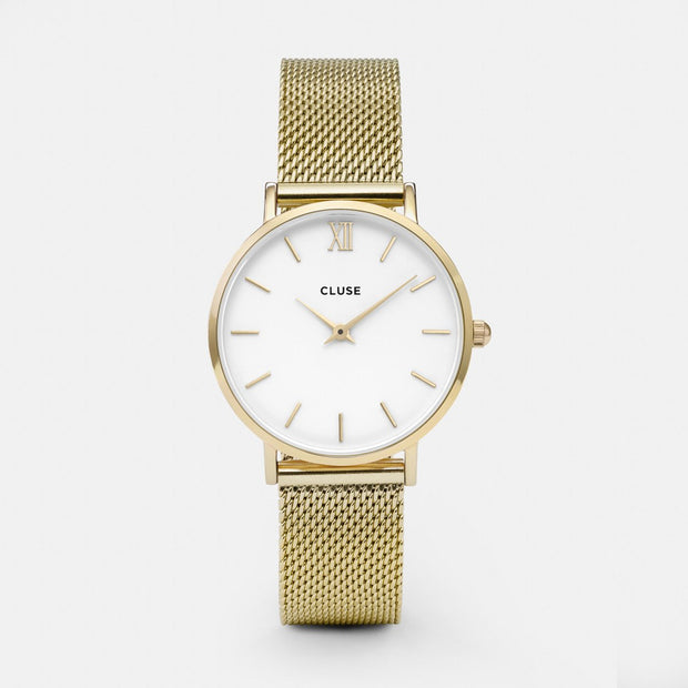Cluse Gold Mesh White Dial 33mm Watch CW0101203007