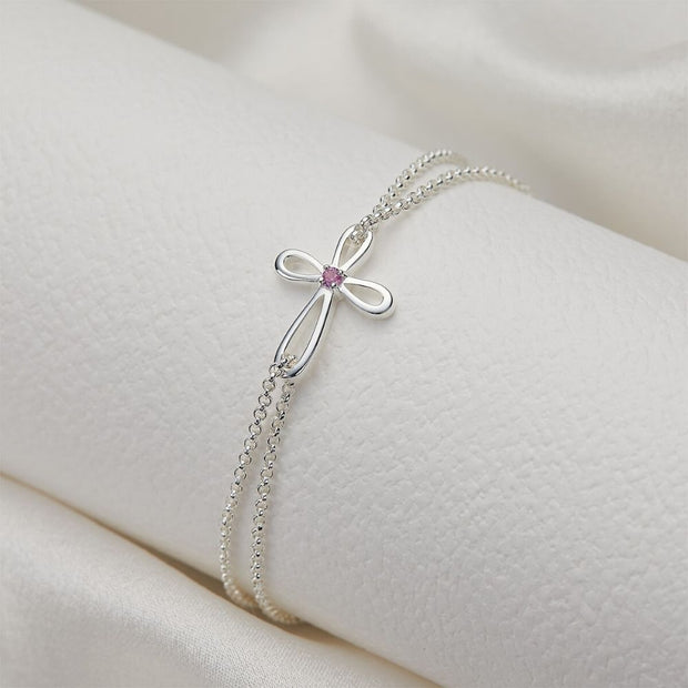 Molly Brown Cherish Pink Sapphire Cross Bracelet MB241-06