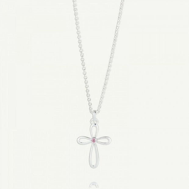 Molly Brown Cherish Pink Sapphire Cross Necklace MB241-02