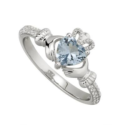 Silver December Claddagh Ring - Blue CZ
