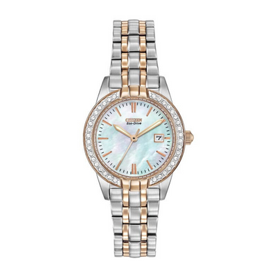 Citizen Eco-Drive Silhouette Two-Tone Crystal Ladies Watch EW1686.59D