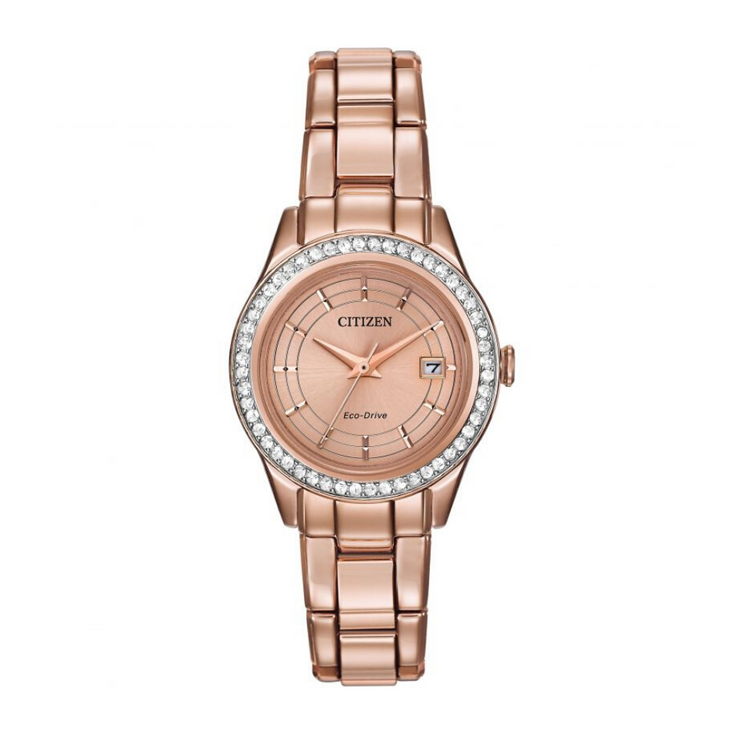 Citizen Eco-Drive Silhouette Rose Gold Ladies Watch FE1123.51Q