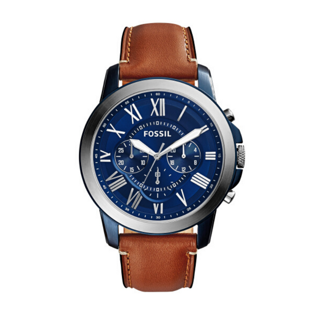Fossil Grant Brown Leather Blue Dial Mens Watch FS5151