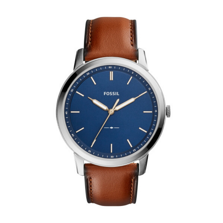 Fossil Mimimalist Brown Leather Blue Dial Watch FS5304