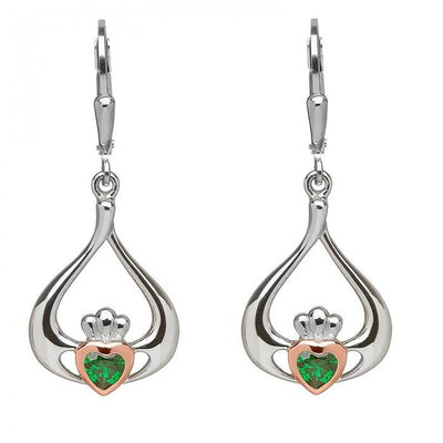 House of Lor Claddagh Green Drop Earrings H30040