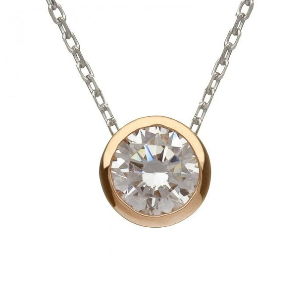House of Lor Round Single Stone CZ Necklace H40035