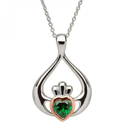 House of Lor Claddagh Green Drop Necklace H40040
