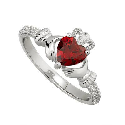 Silver January Claddagh Ring- Garnet CZ