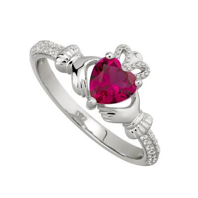 Silver July Claddagh Ring - Ruby CZ