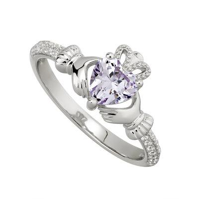Silver June Claddagh Ring - Light Amethyst CZ