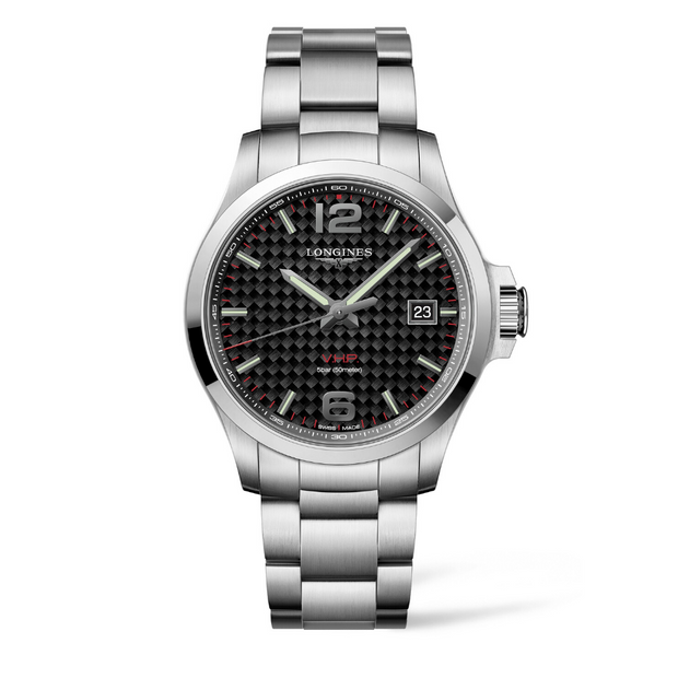 Longines Conquest V.H.P Black Carbon Dial Mens Watch L37264666