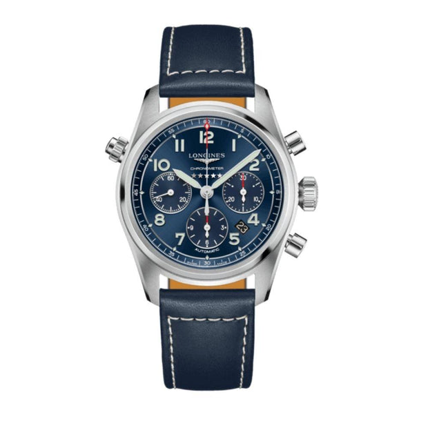 Longines Spirit Blue Leather Chronograph Watch L38204930