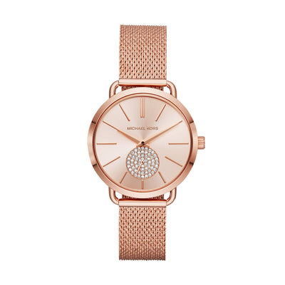Michael Kors Portia Rose Gold Mesh Watch MK3845