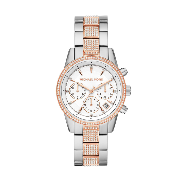 Michael Kors Ritz Steel and Rose Chrono Watch MK6651